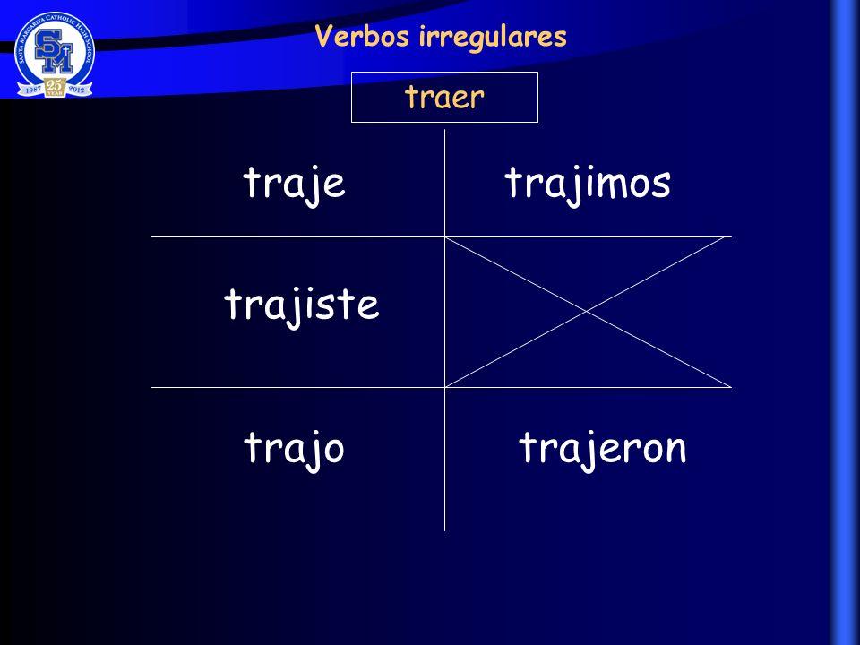 Verbos irregulares traer traje trajimos trajiste trajo trajeron
