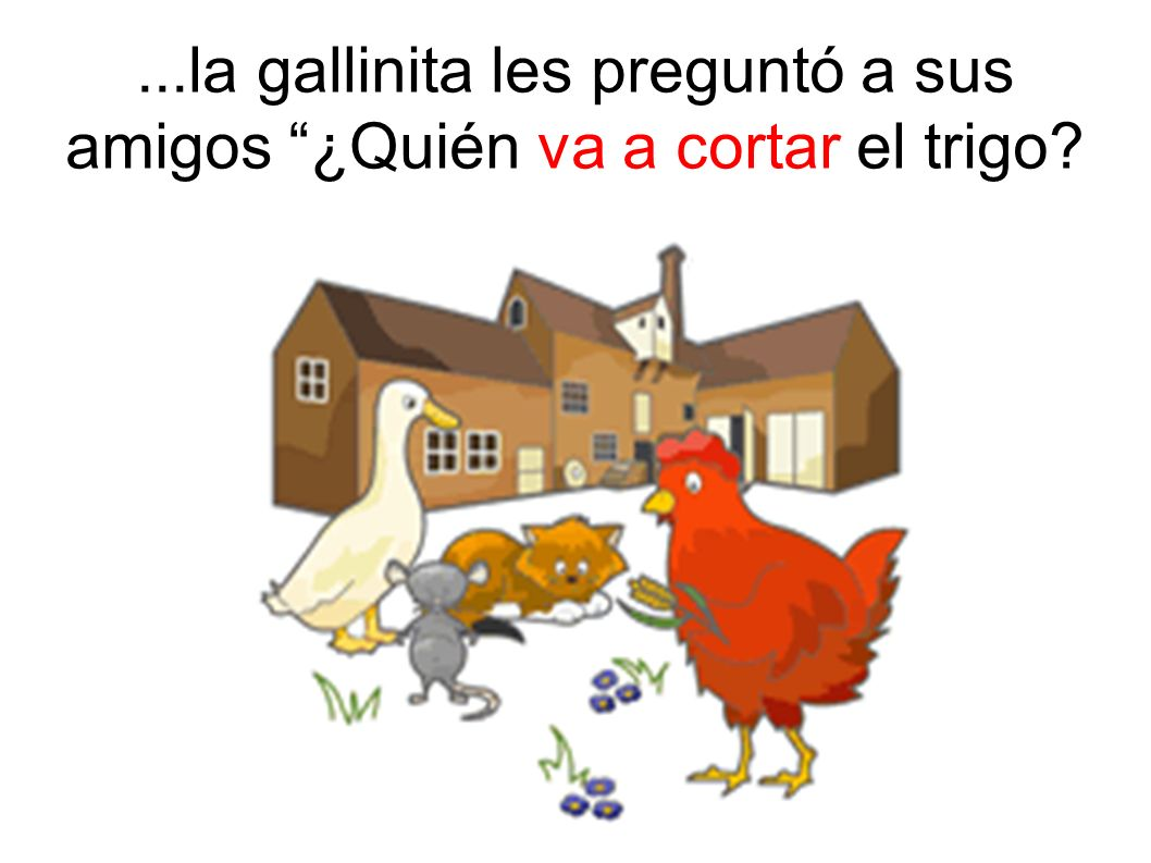 ...la gallinita les preguntó a sus amigos ¿Quién va a cortar el trigo