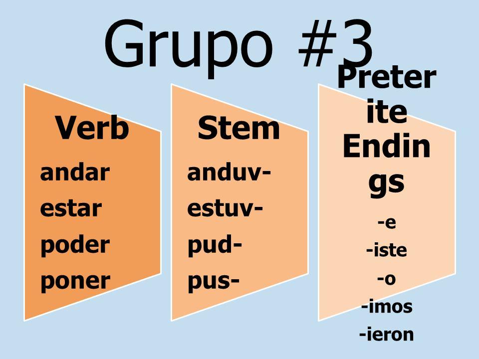 Grupo #3 Preterite Endings Stem Verb andar anduv- estar estuv- poder