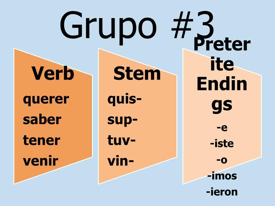 Grupo #3 Preterite Endings Stem Verb querer quis- saber sup- tener