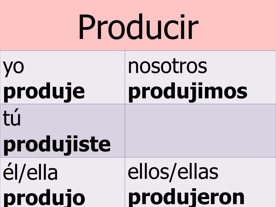 Producir yo produje nosotros produjimos tú produjiste él/ella produjo