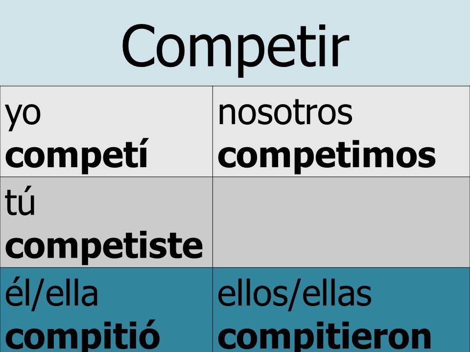 Competir yo competí nosotros competimos tú competiste él/ella compitió