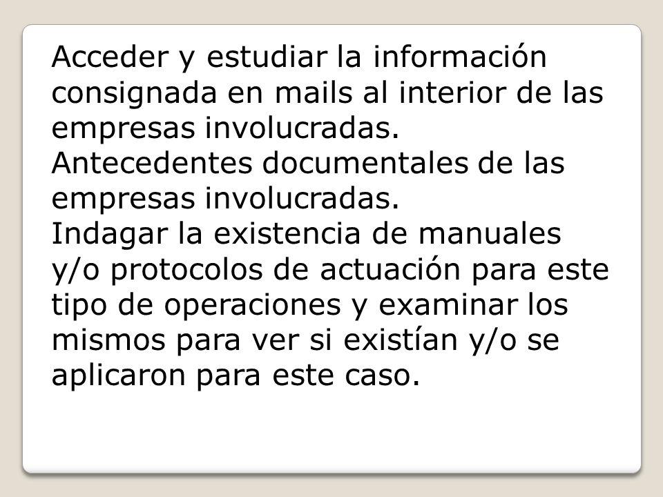 Acceder y estudiar la información consignada en mails al interior de las empresas involucradas.