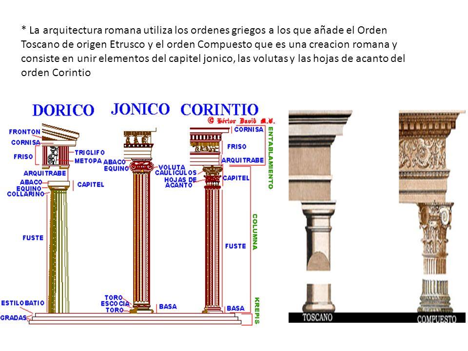 * La arquitectura romana utiliza los ordenes griegos a los que añade el Orden Toscano de origen Etrusco y el orden Compuesto que es una creacion romana y consiste en unir elementos del capitel jonico, las volutas y las hojas de acanto del orden Corintio