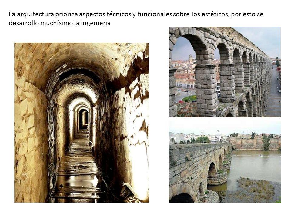 La arquitectura prioriza aspectos técnicos y funcionales sobre los estéticos, por esto se desarrollo muchísimo la ingenieria
