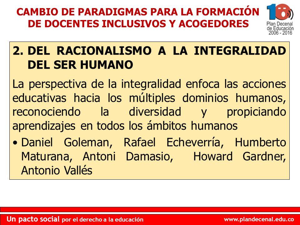 DEL RACIONALISMO A LA INTEGRALIDAD DEL SER HUMANO