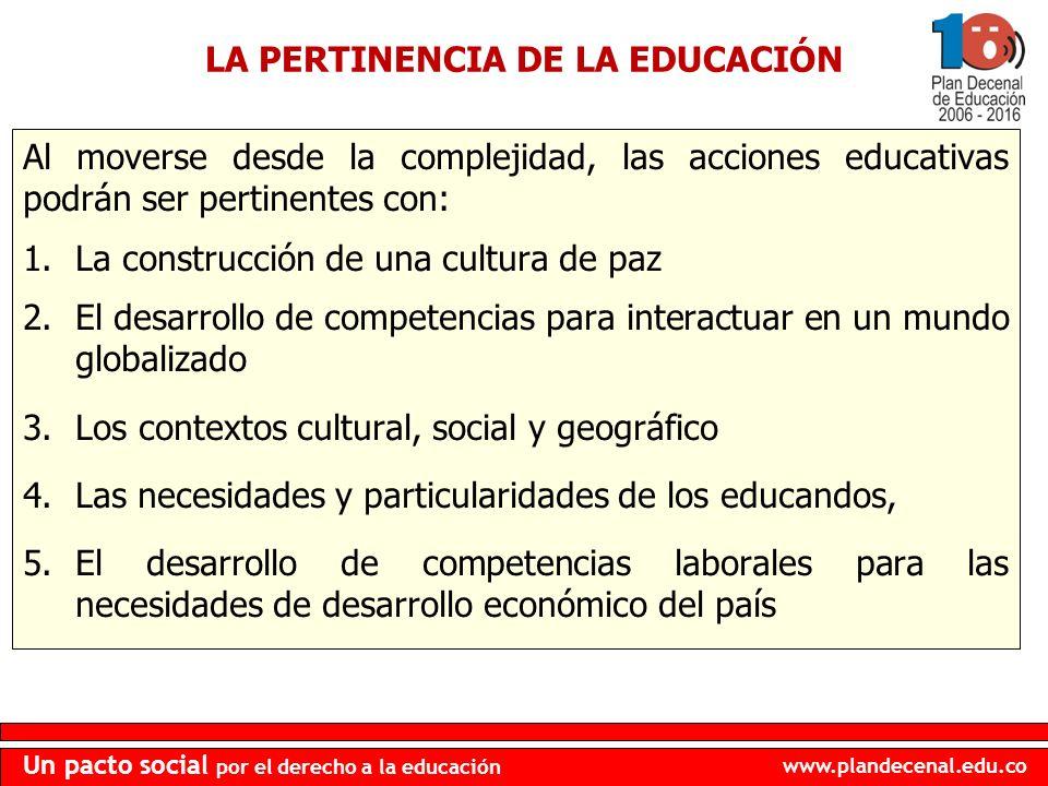 LA PERTINENCIA DE LA EDUCACIÓN