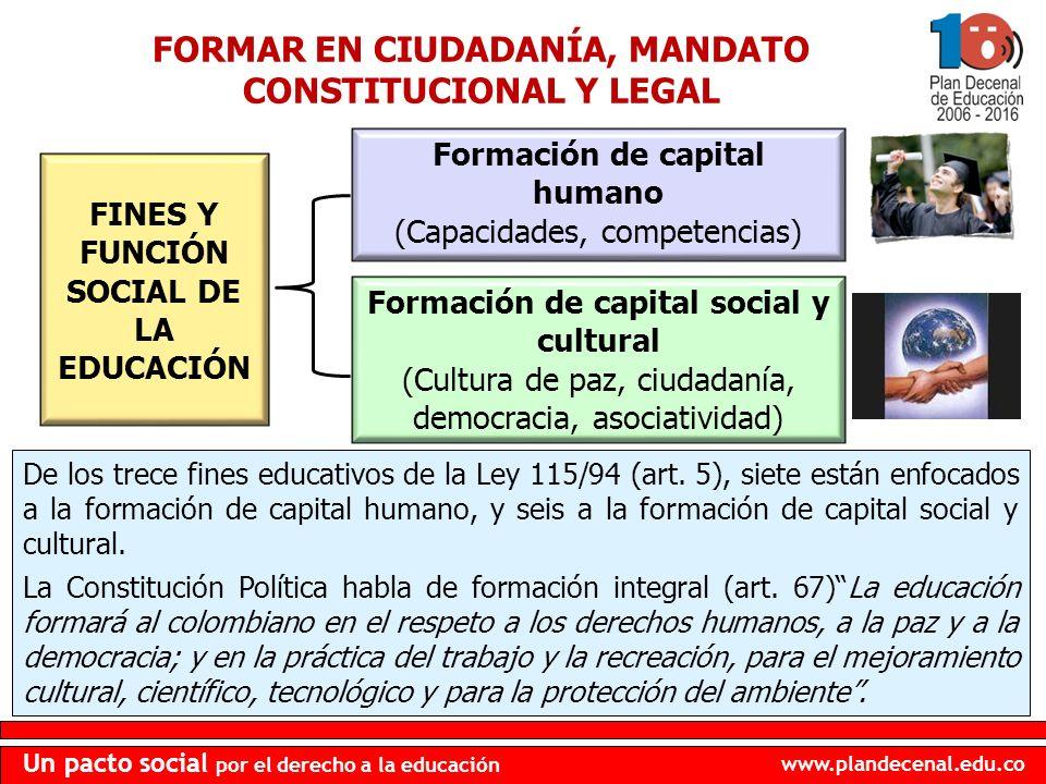 FORMAR EN CIUDADANÍA, MANDATO CONSTITUCIONAL Y LEGAL