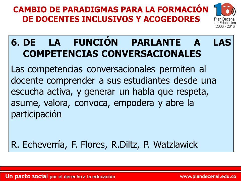 DE LA FUNCIÓN PARLANTE A LAS COMPETENCIAS CONVERSACIONALES