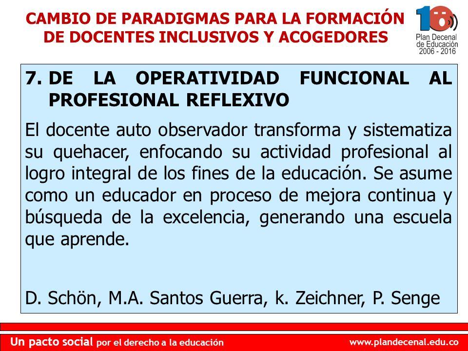 DE LA OPERATIVIDAD FUNCIONAL AL PROFESIONAL REFLEXIVO