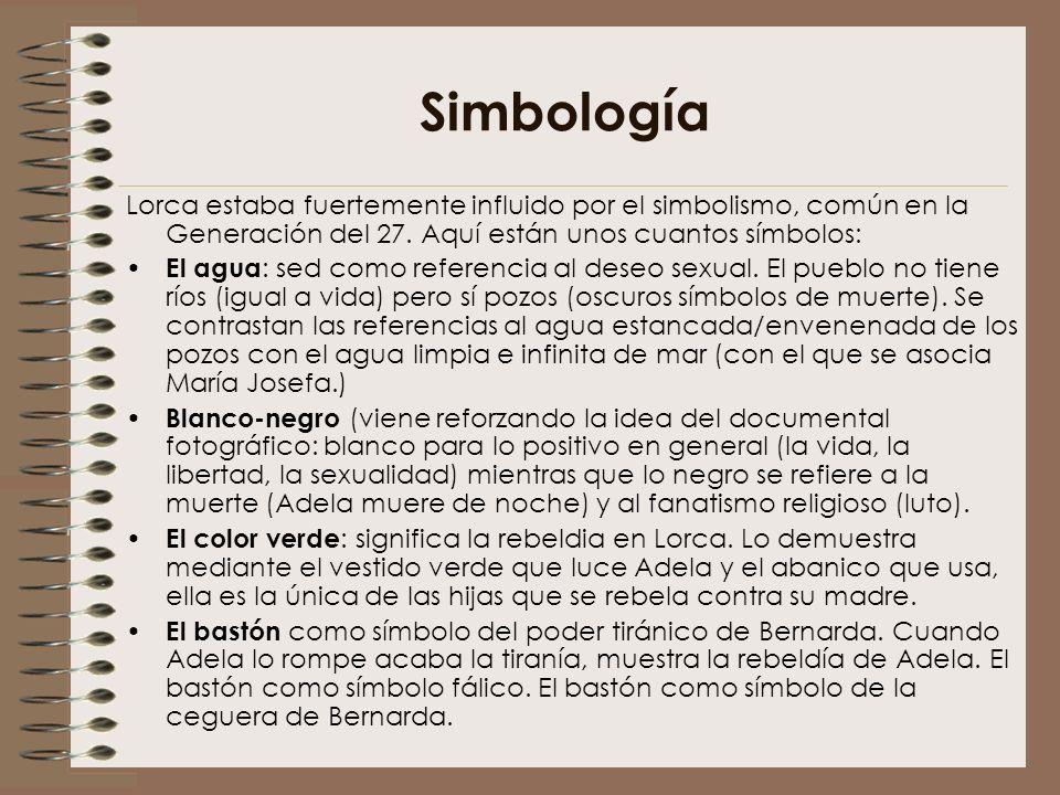 Simbología Lorca estaba fuertemente influido por el simbolismo, común en la Generación del 27. Aquí están unos cuantos símbolos: