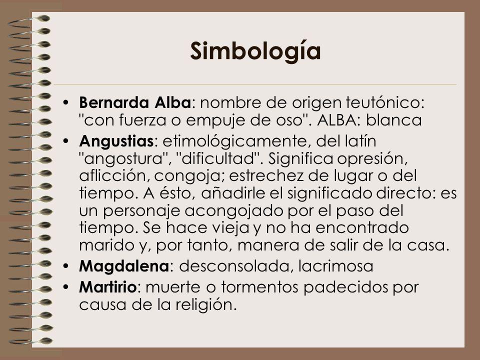 Simbología Bernarda Alba: nombre de origen teutónico: con fuerza o empuje de oso . ALBA: blanca.