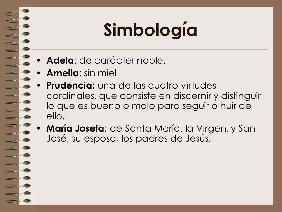Simbología Adela: de carácter noble. Amelia: sin miel