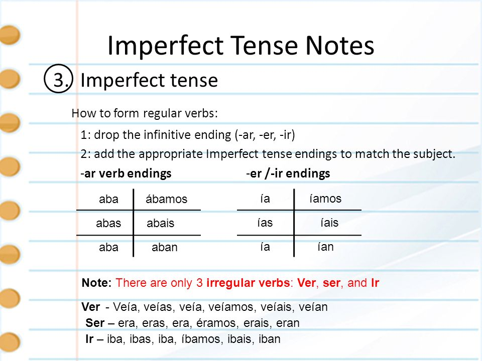Imperfect Tense Notes 3. Imperfect tense How to form regular verbs: