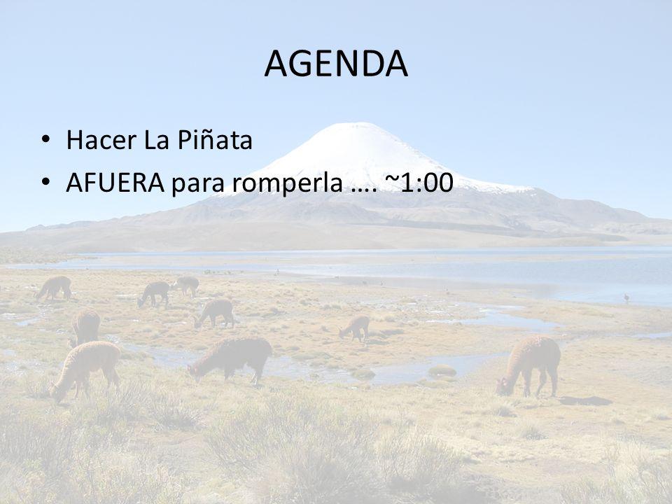 AGENDA Hacer La Piñata AFUERA para romperla …. ~1:00