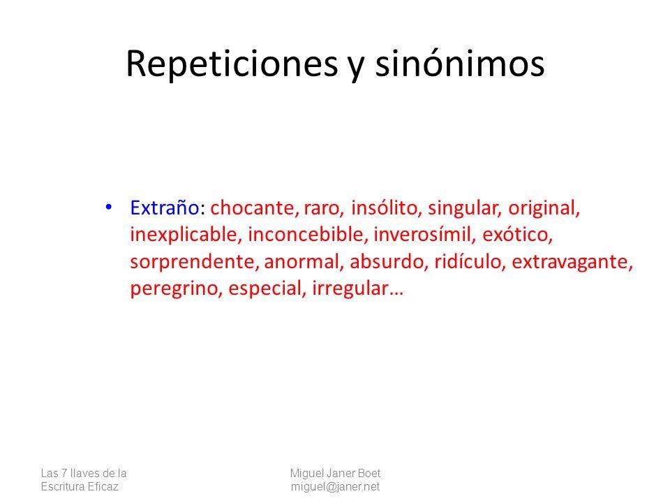 Repeticiones y sinónimos