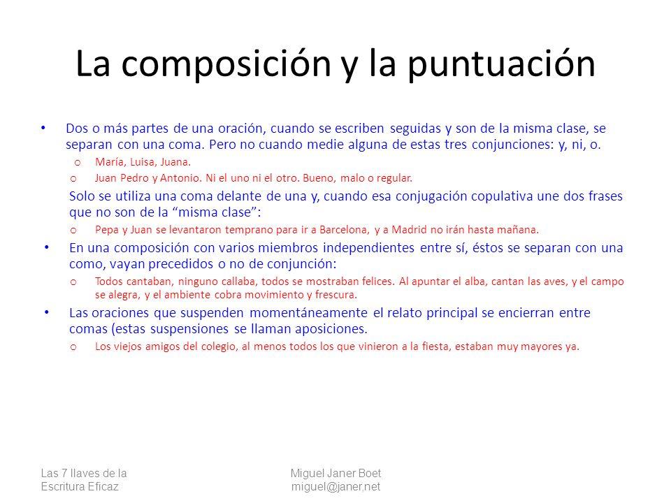 La composición y la puntuación