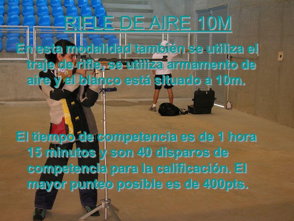 RIFLE DE AIRE 10M En esta modalidad también se utiliza el traje de rifle, se utiliza armamento de aire y el blanco está situado a 10m.