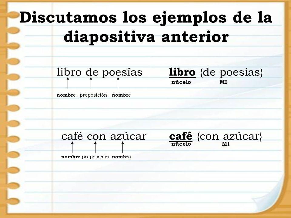 Discutamos los ejemplos de la diapositiva anterior