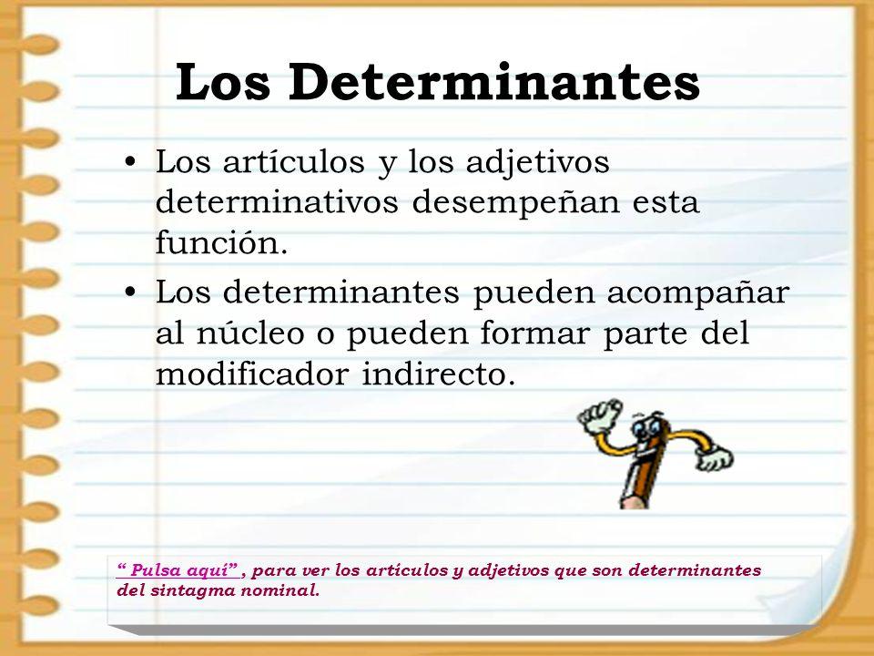 Los Determinantes Los artículos y los adjetivos determinativos desempeñan esta función.