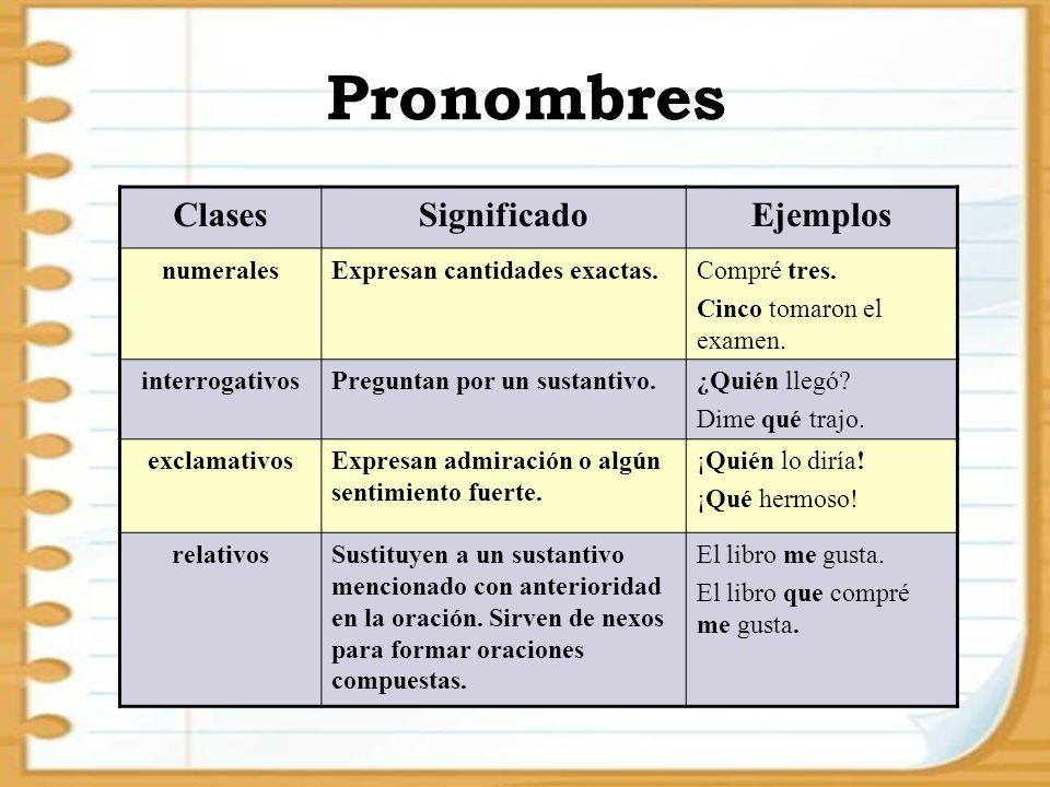 Pronombres Clases Significado Ejemplos numerales