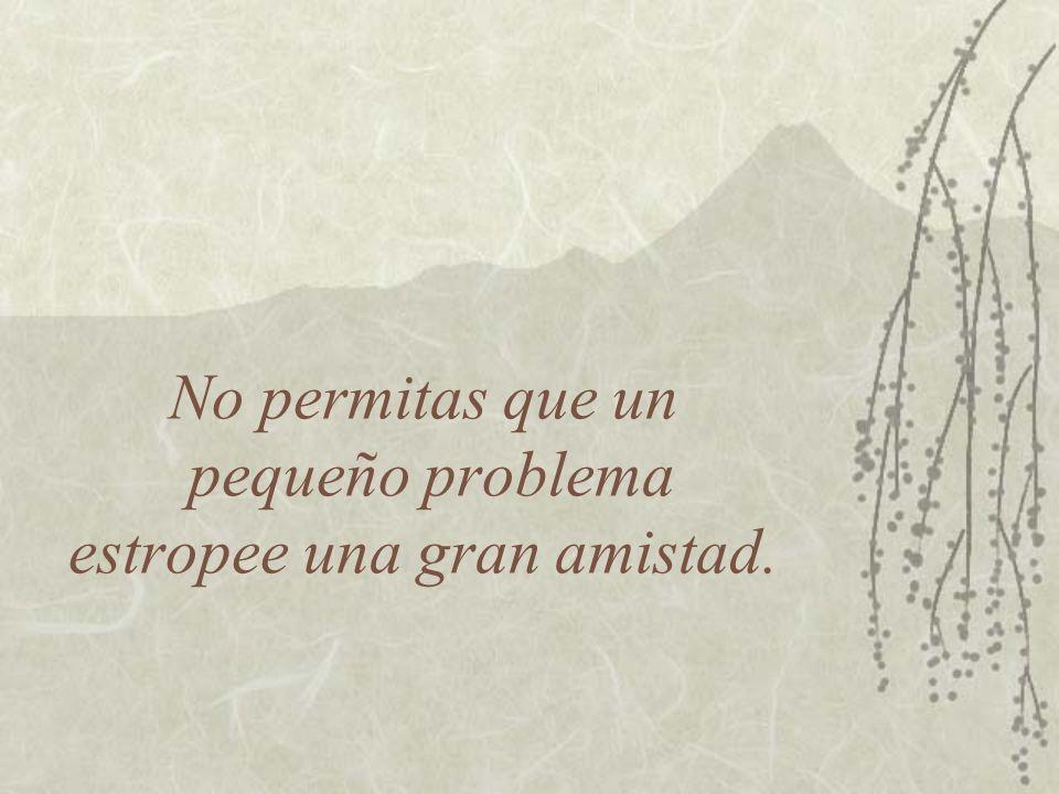 No permitas que un pequeño problema estropee una gran amistad.