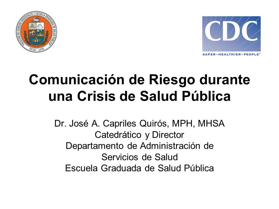 Comunicación de Riesgo durante una Crisis de Salud Pública