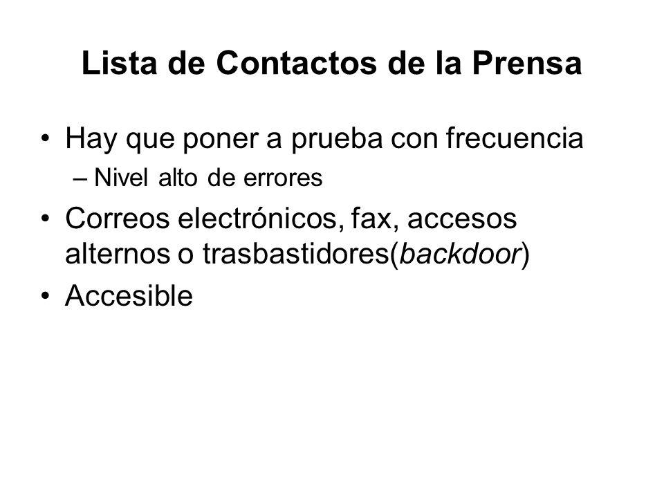 Lista de Contactos de la Prensa