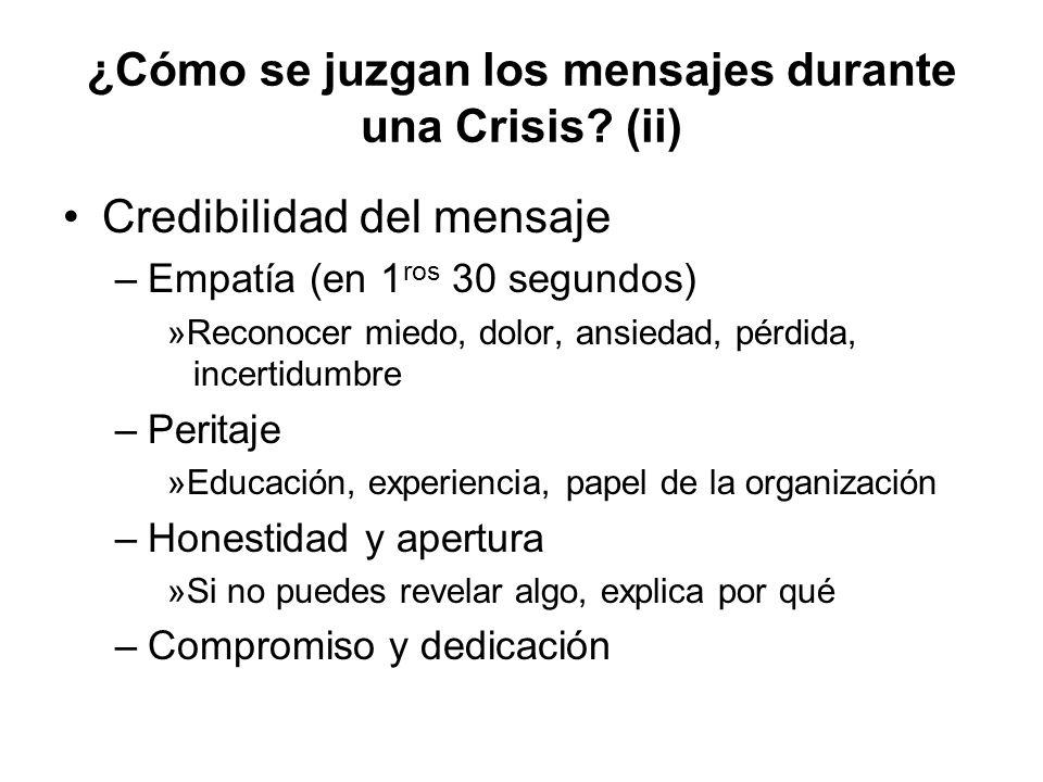 ¿Cómo se juzgan los mensajes durante una Crisis (ii)