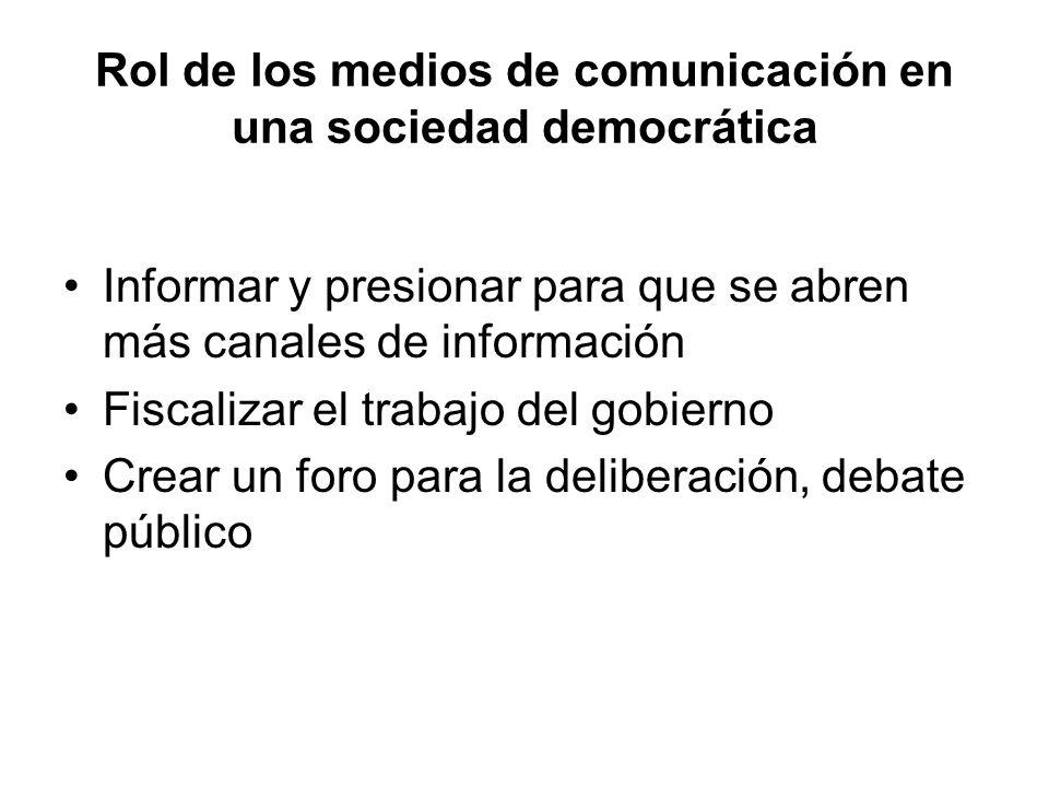 Rol de los medios de comunicación en una sociedad democrática