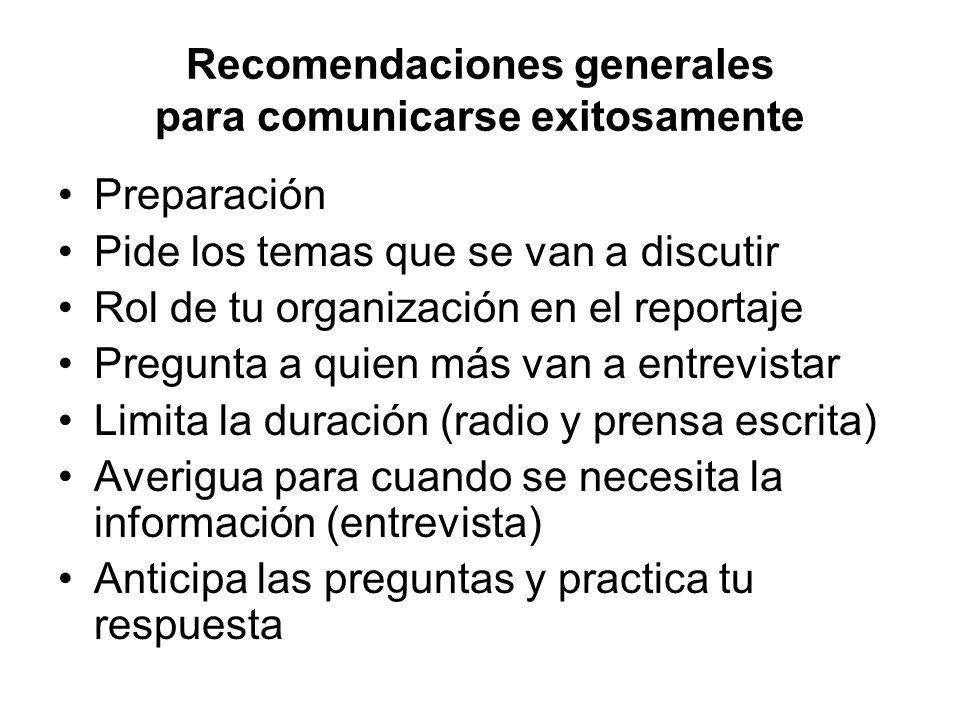 Recomendaciones generales para comunicarse exitosamente