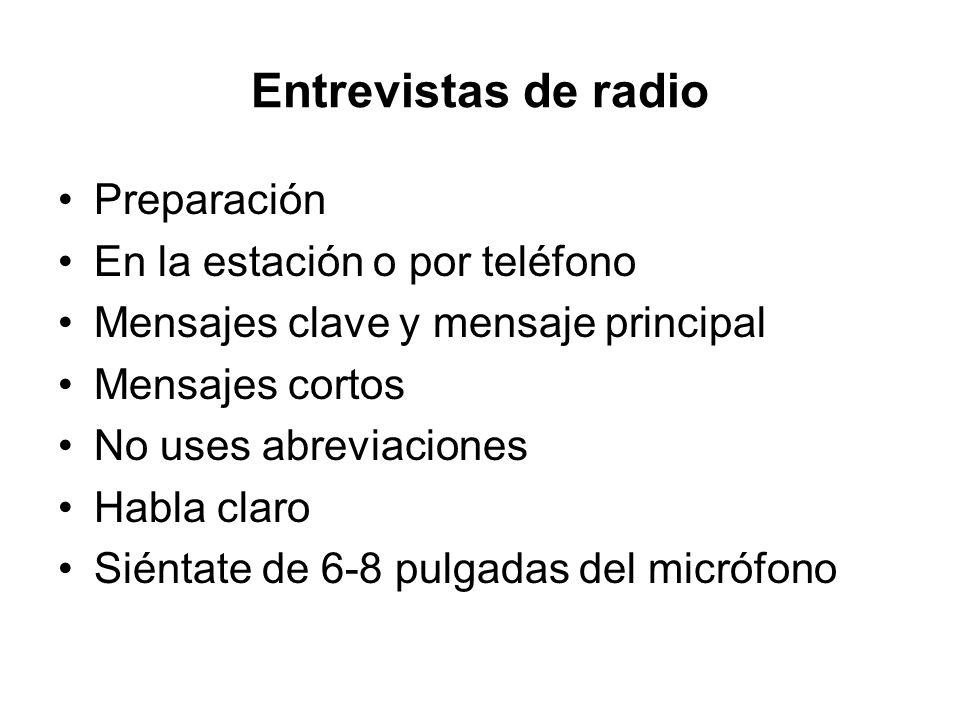 Entrevistas de radio Preparación En la estación o por teléfono