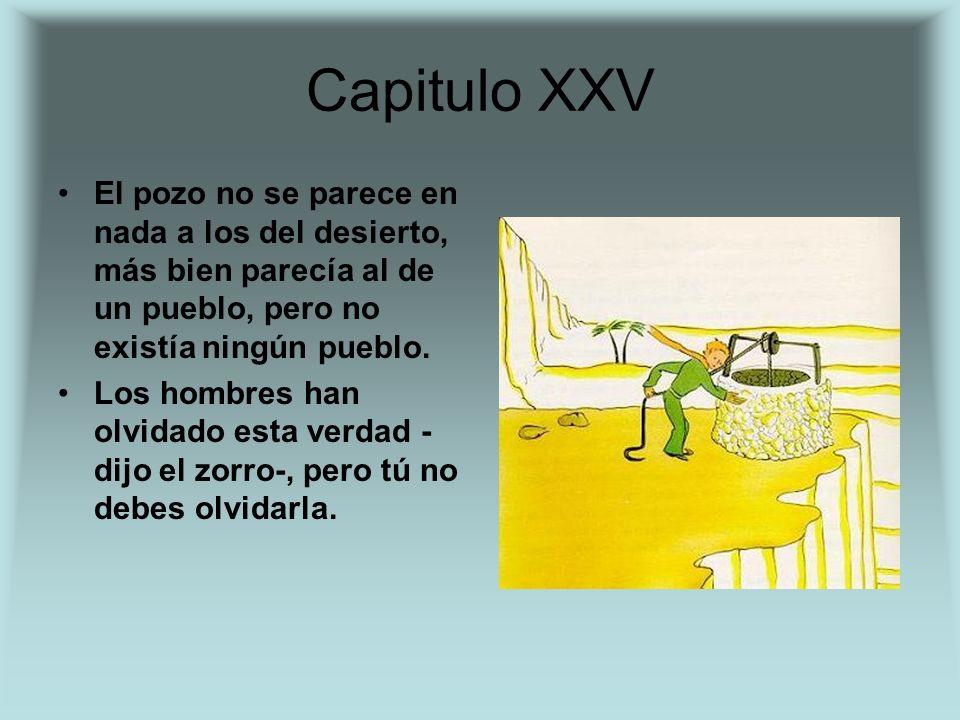 Capitulo XXV El pozo no se parece en nada a los del desierto, más bien parecía al de un pueblo, pero no existía ningún pueblo.
