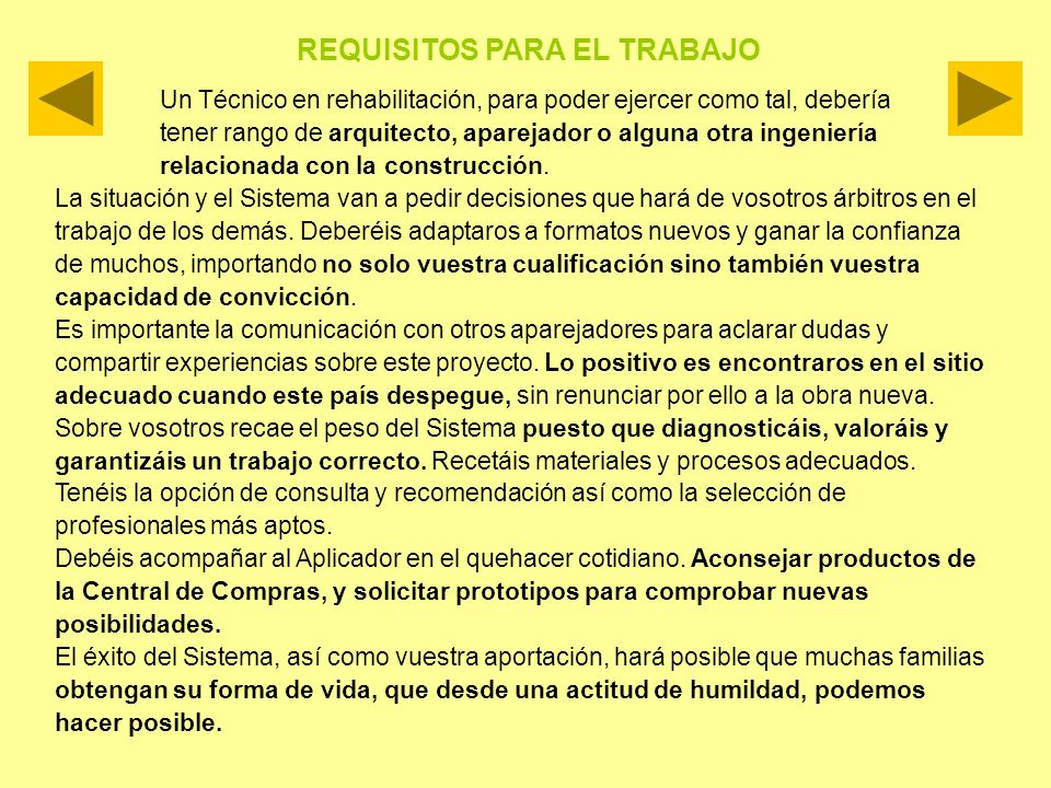 REQUISITOS PARA EL TRABAJO