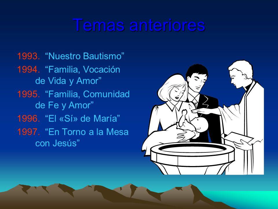 Temas anteriores Nuestro Bautismo Familia, Vocación de Vida y Amor
