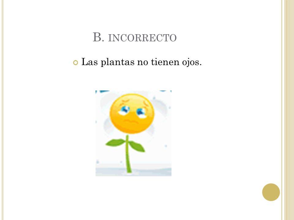 Las plantas no tienen ojos.