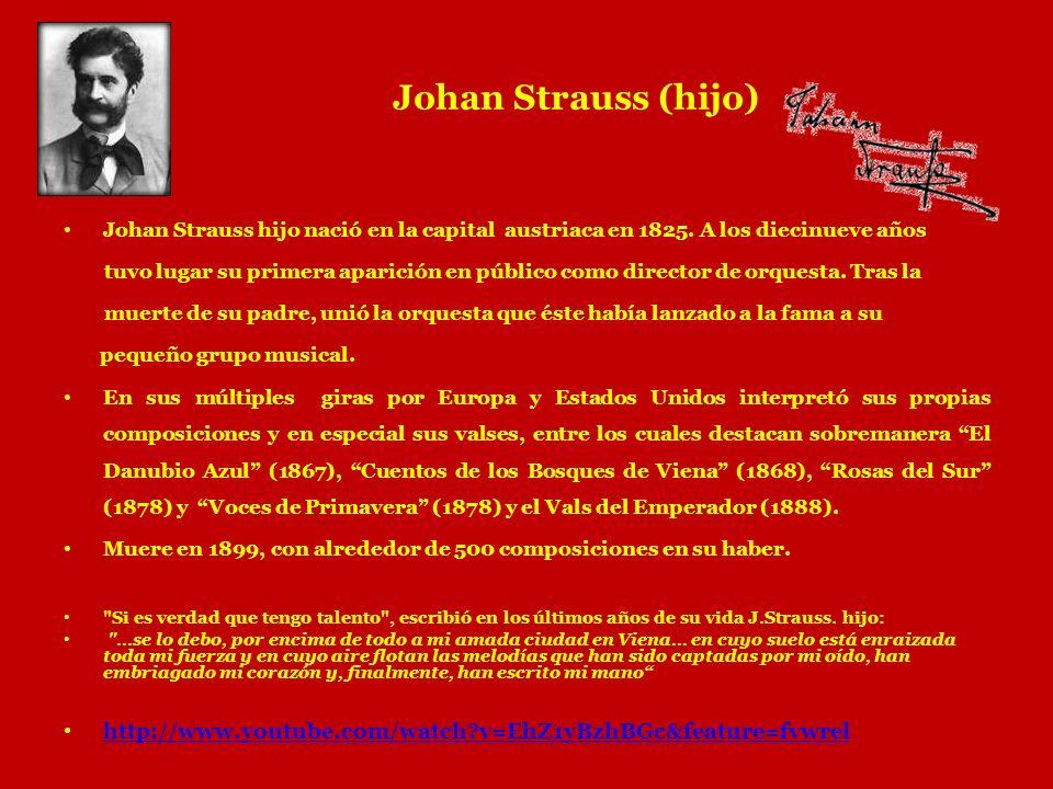 Johan Strauss (hijo) Johan Strauss hijo nació en la capital austriaca en 1825. A los diecinueve años.