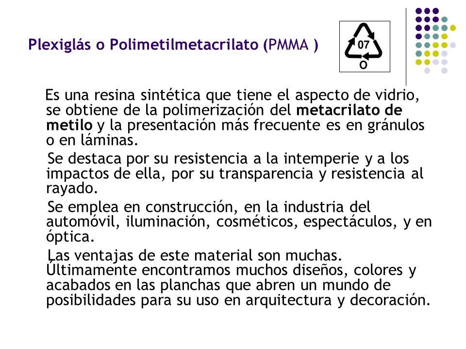 Plexiglás o Polimetilmetacrilato (PMMA )