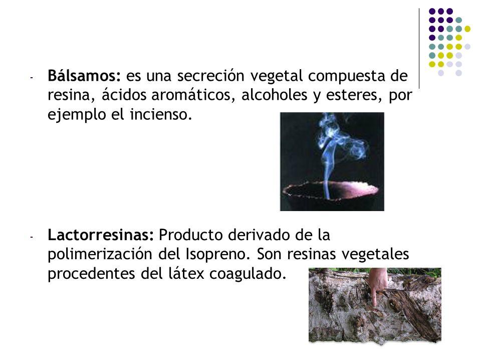 Bálsamos: es una secreción vegetal compuesta de resina, ácidos aromáticos, alcoholes y esteres, por ejemplo el incienso.