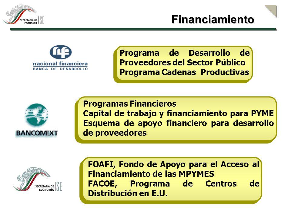 Financiamiento Programa de Desarrollo de Proveedores del Sector Público. Programa Cadenas Productivas.