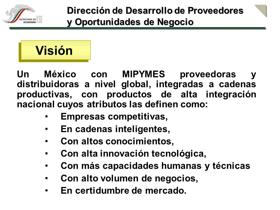Visión Dirección de Desarrollo de Proveedores