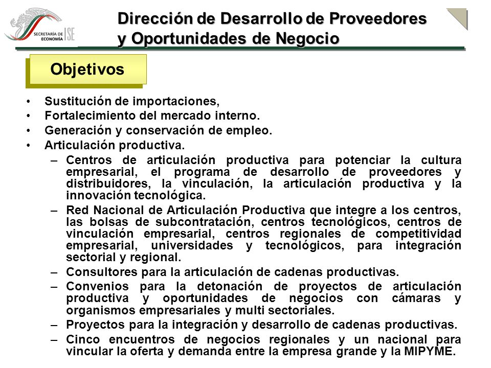 Dirección de Desarrollo de Proveedores y Oportunidades de Negocio