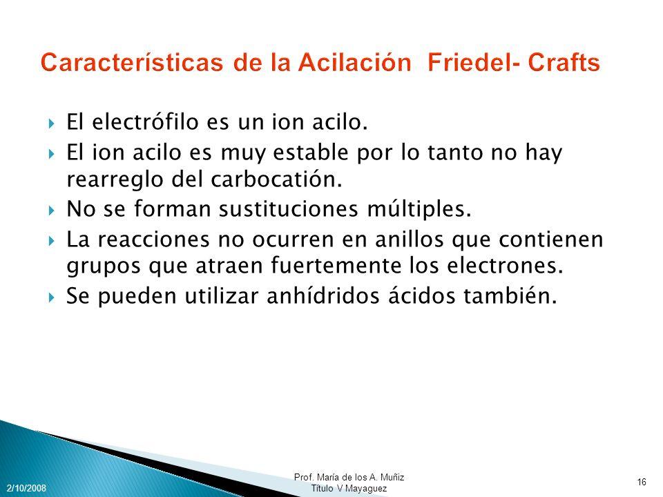 Características de la Acilación Friedel- Crafts