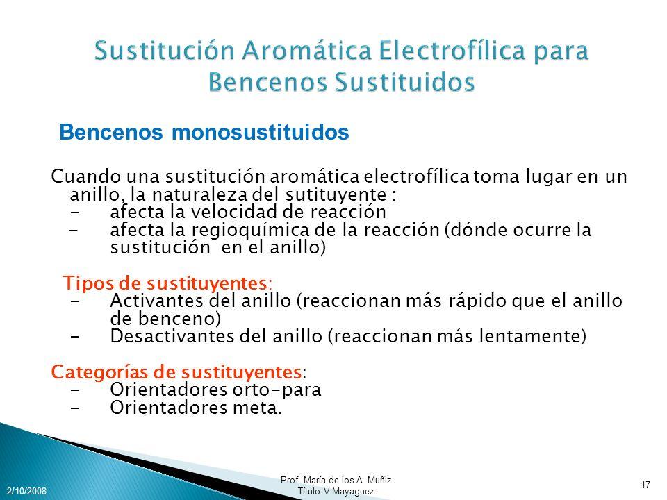 Sustitución Aromática Electrofílica para Bencenos Sustituidos