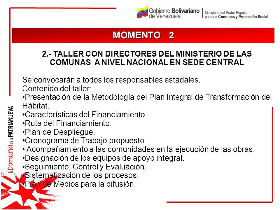 MOMENTO 2 JUSTIFICACIÓN. 2.- TALLER CON DIRECTORES DEL MINISTERIO DE LAS COMUNAS A NIVEL NACIONAL EN SEDE CENTRAL.