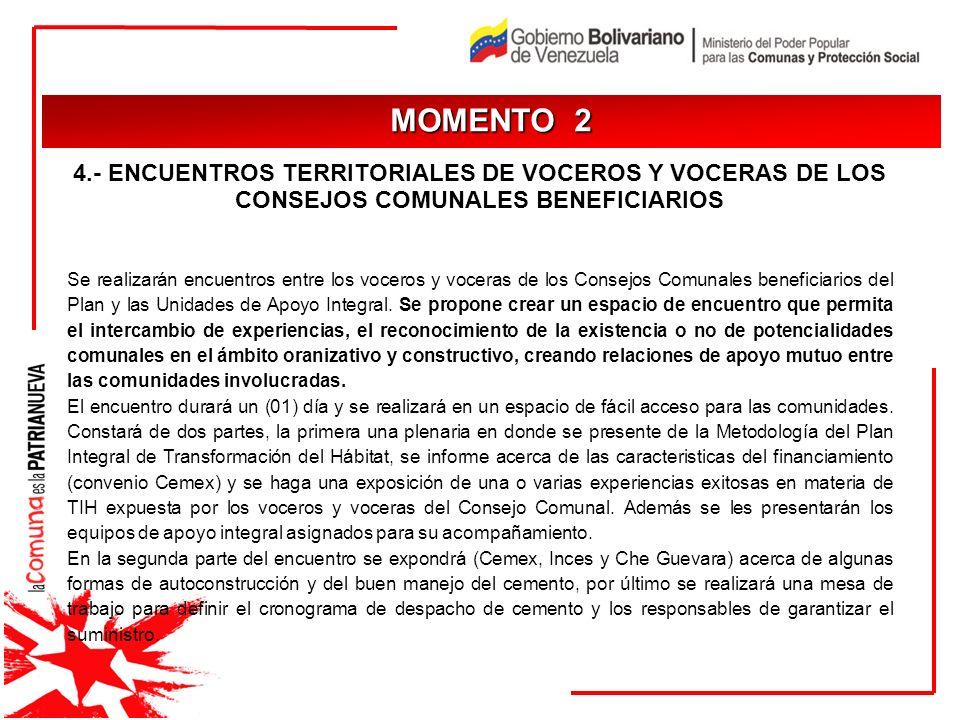 MOMENTO 2 JUSTIFICACIÓN. 4.- ENCUENTROS TERRITORIALES DE VOCEROS Y VOCERAS DE LOS CONSEJOS COMUNALES BENEFICIARIOS.