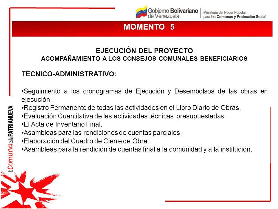 MOMENTO 5 EJECUCIÓN DEL PROYECTO TÉCNICO-ADMINISTRATIVO: