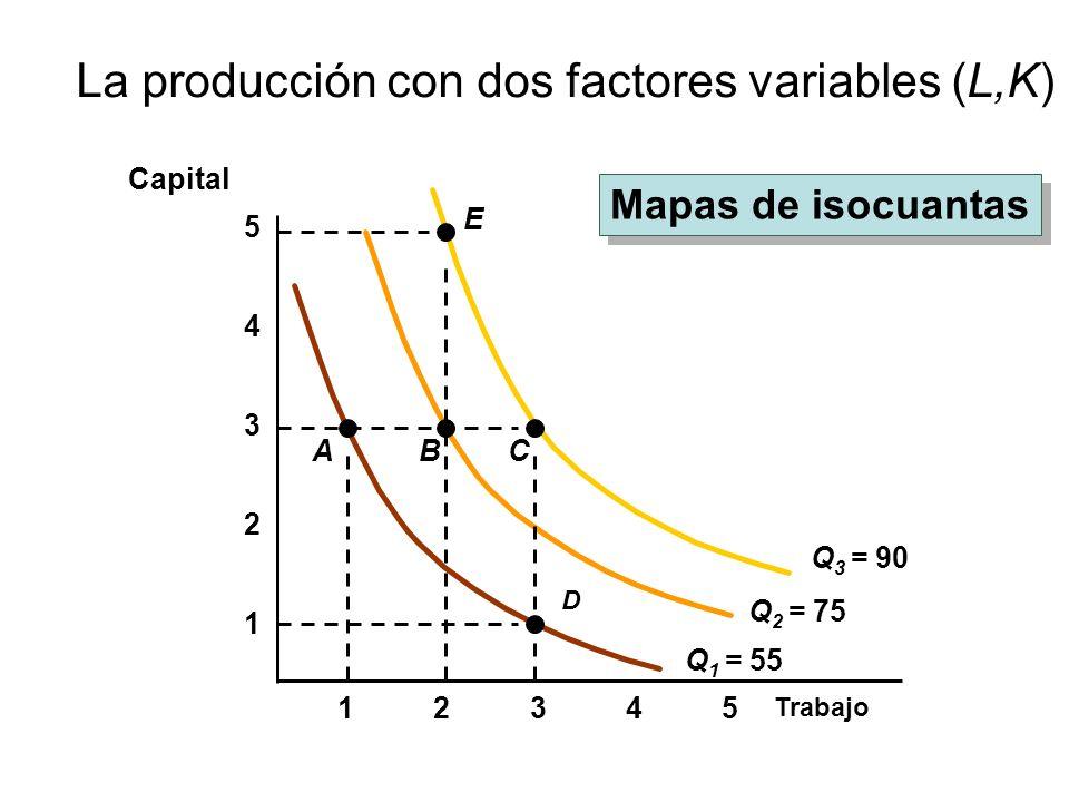 La producción con dos factores variables (L,K)
