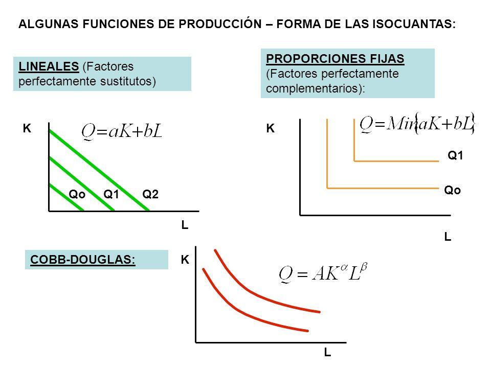 ALGUNAS FUNCIONES DE PRODUCCIÓN – FORMA DE LAS ISOCUANTAS: