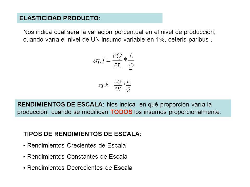 ELASTICIDAD PRODUCTO: